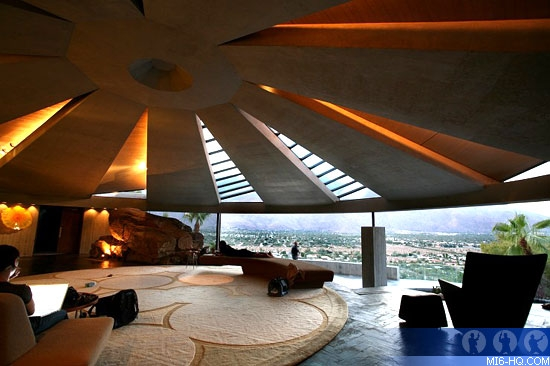 Interior of Architect John Lautner's Elrod House in Palm Springs, CA