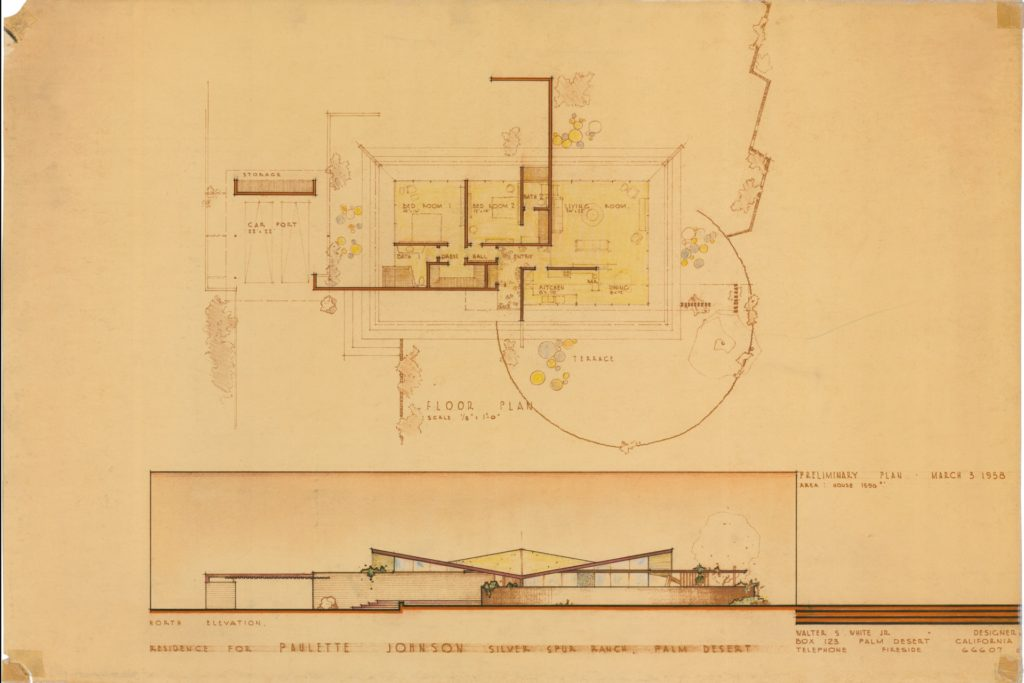 Walter S. White (1917-2002), Paulette Johnson house, Palm Desert, CA, 1958, preliminary design showing the unrealized hypar roof. Image courtesy of Architecture and Design Collection, Art Design & Architecture Museum, UC Santa Barbara. © UC Regents.